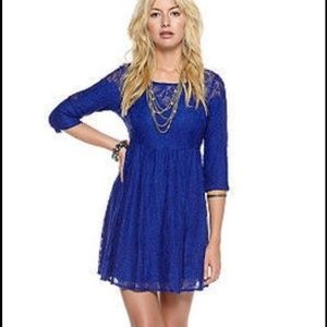 Free People Blue Lace Dress, Size Medium